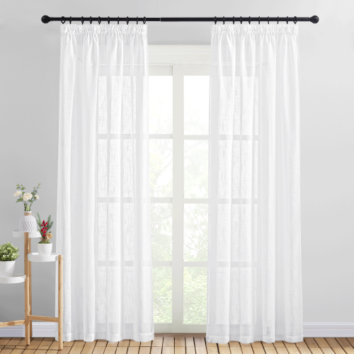 Custom Semi Sheer Curtain-Linen Top Pinch Pleat Linen Sheer Curtain by NICETOWN ( 1 Panel )