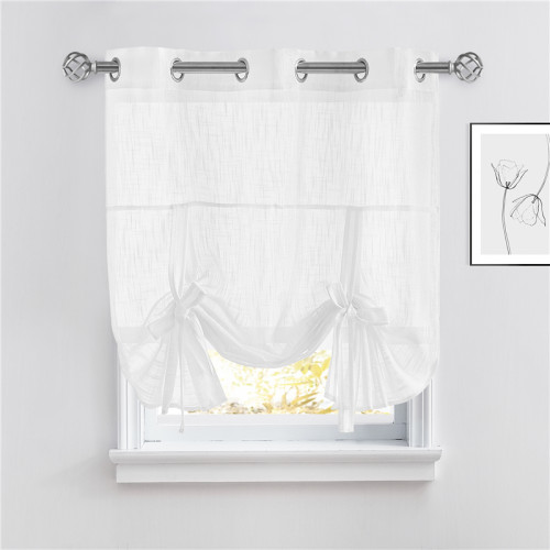 Custom Tie Up Shade Sheer Curtain-Linen Textured Sheer Window Valance-Kitchen-Bathroom by NICETOWN ( 1 Panel )
