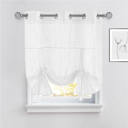 Custom Tie Up Shade Sheer Curtain-Linen Textured Sheer Window Valance-Kitchen-Bathroom by NICETOWN ( 1 Panel )