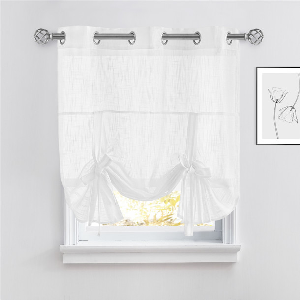 NICETOWN Tie Up Shade Sheer Curtain- Linen Textured Sheer Window Valance