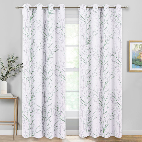 Set of 2 Room Darkening Blackout Tree Branch Pattern Curtains by NICETOWN
