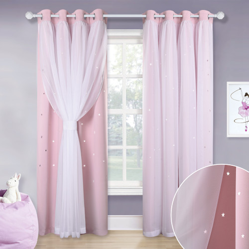 NICETOWN Sheer Voile Window Drape with Star Cut Blackout Curtain for Baby Room, Kids Room - 1 Panel