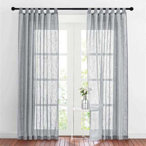 Custom Semi Sheer Curtain-Linen Tab Top Linen Sheer Curtain by NICETOWN ( 1 Panel )