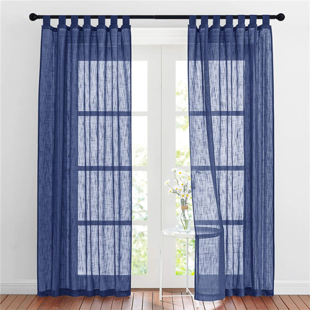 NICETOWN Rod Pocket Semi Sheer Curtain- Linen Textured Sheer Curtain(1 Panel)