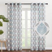 Custom Leaf Pattern Printed Semi-Sheer Linen Curtain for Living Room by NICETOWN ( 1 Panel )