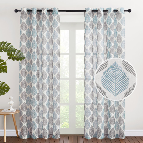 Custom Leaf Pattern Printed Semi-Sheer Linen Curtain for Living Room by NICETOWN ( 1 Panel )