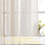 Custom Sheer Curtain-Linen Textured Attached Valance Sunlight Glare Filtering for Living Room by NICETOWN ( 1 Panel )