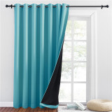 Custom Extra Wide Solid 100% Blackout Thermal Insulated Room Divider Curtain with Black Liner for Bedroom by NICETOWN ( 1 Panel )