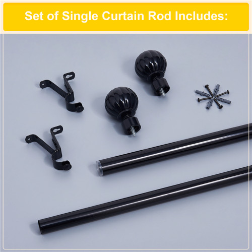 NICETOWN Diameter Drapery Corner Window Curtain Rod Set with Decorative Petal Ball Caps, Adjustable Length from 28 to 144-Inch