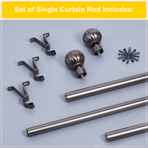 NICETOWN Custom Diameter Drapery Corner Window Curtain Rod Set with Decorative Petal Ball Caps, Adjustable Length from 28 to 144-Inch