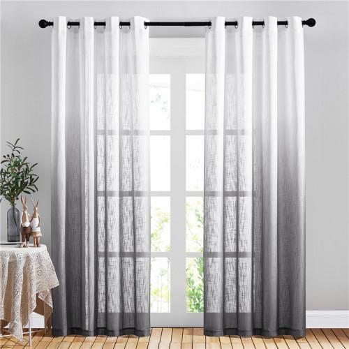NICETOWN Linen Sheer Curtain, Grommet Ombre Sheer Linen Curtain Floor-Length Drape Privacy-1 Panel
