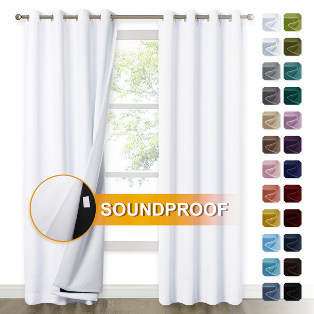 Custom Soundproof Thermal Insulated Curtains 3 Layers Soundproof Thermal Insulated Curtains 100% Blackout Drape Made to Order by NICETOWN ( 1 Panel )