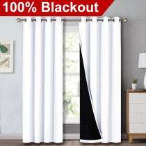 2 Layers Set of 2 Blackout Thick Thermal Insulated & 100% Blackout Curtains By NICETOWN