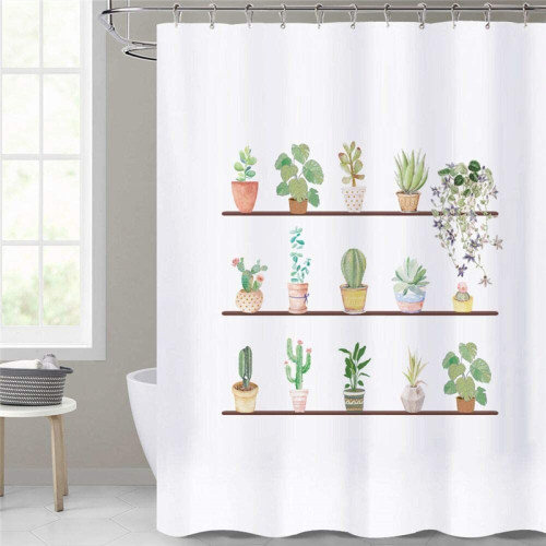 NICETOWN Custom Cactus Shower Curtains Waterproof-Farmhouse Garden Plant Pattern Washable Shower Curtains for Bahroom Bathtub Privacy Backdrop