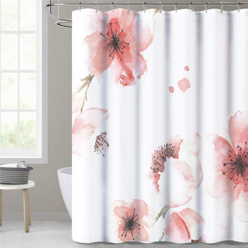 NICETOWN Custom Bathroom Shower Curtain Waterproof Pink Floral Curtains Polyester Fabric Liner Modern Bathroom Decoration Washable for Girls Stalls and Bathtubs