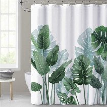 84 inch Extra Long White Shower Curtain for Bathroom by NICETOWN Custom-Tropical Leave Plant on White Background Odorless Curtain