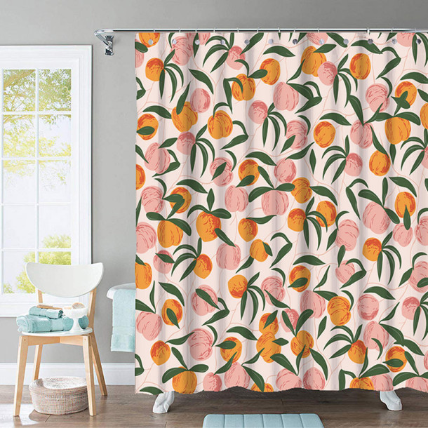 Custom Summer Peach Simple Modern Fashion Shower Curtain by NICETOWN ( 1 Panel )