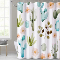 NICETOWN Custom Water Resistant Shower Curtain-Cactus Tropical Plants Pattern Botany Bath Decor Curtain Liner Printed Polyester Fabric for Bath Stall Tubs