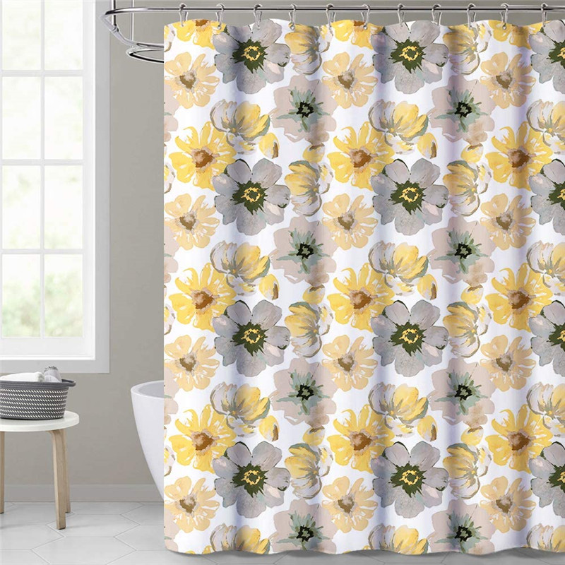 NICETOWN Custom Shower Curtain for Bathroom-Yellow Gray Leah Floral Paint Art Decor Waterproof Washable Panelfor bathtubs Backdrop