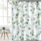 Waterproof Bathroom White Shower Curtains-Branches and Leaves by Nicetown Custom