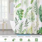 NICETOWN Custom Waterproof Shower Curtain for Bathroom Tropical Palm Leaf Pattern on White Background Botanical Curtain Accessory Decor Set for Laundry Room Poolside