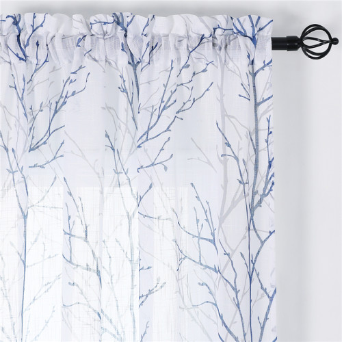 Set of 2 White Faux Linen Textured Semi-Sheer Print Pattern Curtain by NICETOWN