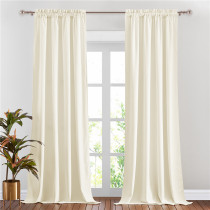 Custom Ivory|Solid Blackout Privacy Energy Saving Velvet Curtain Thermal Drapery by NICETOWN ( 1 Panel )