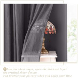Custom 2 Layers Mix & Match Elegance Gauze & Blackout Curtain Panel with Free Rope-Bedroom Curtain by NICETOWN ( 1 Panel )