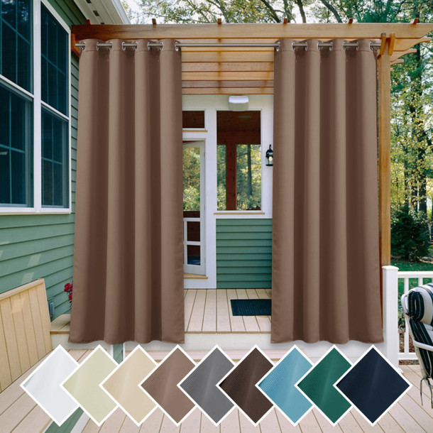 Copy Custom All Size Outdoor Curtains Waterproof Windproof Block UV Blackout Drape for Patio / Foyer / Arbor by NICETOWN ( 1 Panel )