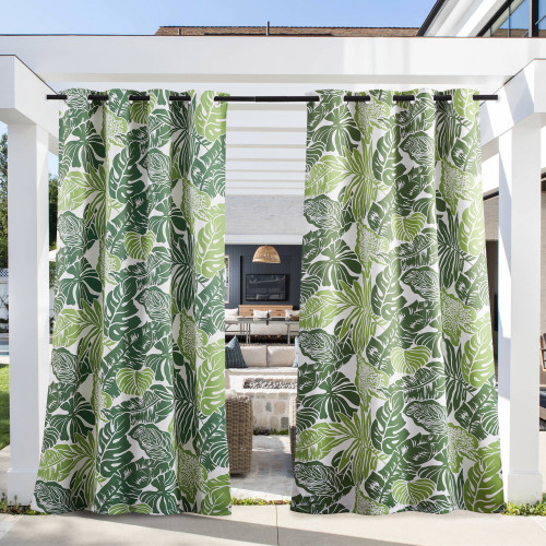 Outdoor Curtain for Patio Waterproof, Rustproof Grommet Decorative Green Banana Leaf Pattern Thermal Insulated Light Blocking Vertical Drapes for Porch/Cabana by NICETOWN ( 1 Panel )