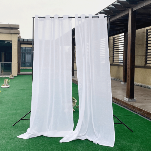 1Custom Linen  Outdoor Sheer Curtain with Rope for Patio by NICETOWN ( 1 Panel )