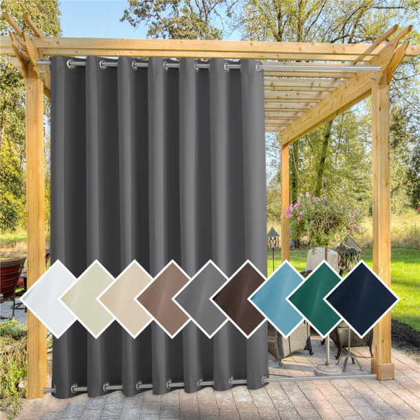 Custom Outdoor Curtain for Patio Waterproof & Windproof Grommet Top Thermal Insulated Top and Bottom Fixed Rustproof Grommets Light Block Outdoor Curtain Drape for Pool by NICETOWN  ( 1 Panel )