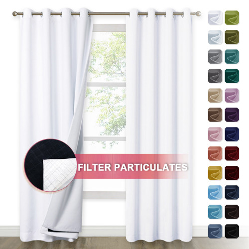 Custom 4 Layers Lower PM2.5 Particles Filter dust 100% Blackout Grommet Top Best Soundproof Curtain Sound Deadening Thermal Insulated Drapes by NICETOWN ( 1 Panel )