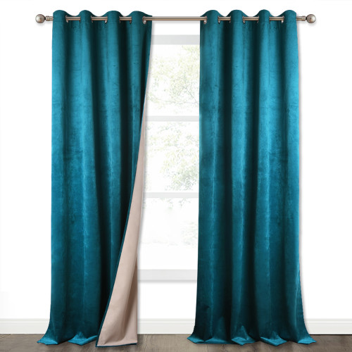 Custom 100% Blackout Velvet Grommet Top Curtains with Liner Sound Deadening Drape Thermal Insulated for Living Room / Bedroom by NICETOWN ( 1 Panel )