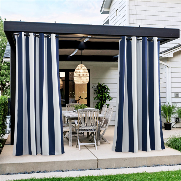 Custom Outdoor Striped Blackout Waterproof Energy Saving Grommet Top Curtain for Patio / Pergola Block UV Rays Made to Order by NICETOWN ( 1 Panel )