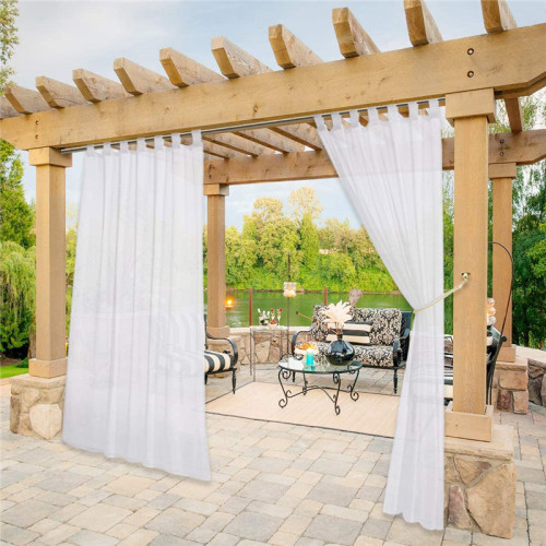 1Custom Outdoor Sheer Curtain with Self-Sticky Detachable Tab Top for Easy Hanging-Patio-Pergola by NICETOWN ( 1 Panel )