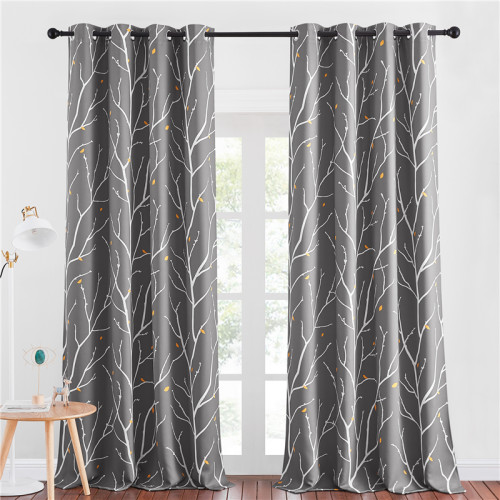 Modern Blackout Curtains Room Darkening Branch pattern Curtains by NICETOWN ( 1 Panel )