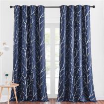 Modern Blackout Curtains Room Darkening Branch pattern Curtains by NICETOWN ( 1 Panel )