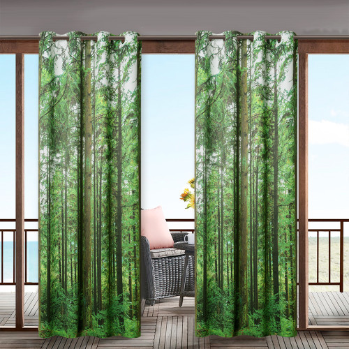 Green Forest Pattern Waterproof&Rustproof Thermal Insulated Outdoor Curtain for Patio/Porch/Cabana by NICETOWN ( 1 Panel )