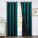Custom 100% Blackout Velvet Curtains with Liner Sound Deadening Drape Thermal Insulated for Living Room / Bedroom by NICETOWN ( 1 Panel )