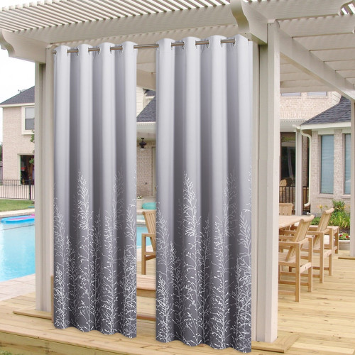 Custom Patio Outdoor Curtains Gradient Waterproof Blackout Curtains by NICETOWN ( 1 Panel )