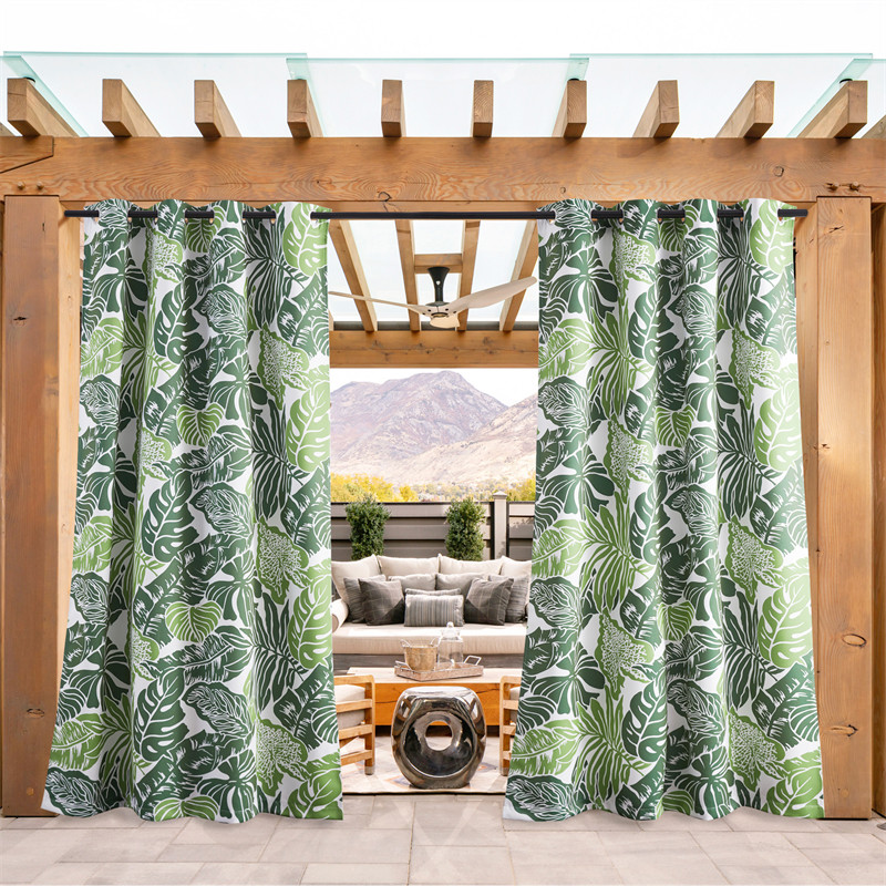 Green Banana Leaf Pattern Waterproof&Rustproof Thermal Insulated Outdoor Curtain for Patio/Porch/Cabana by NICETOWN ( 1 Panel )