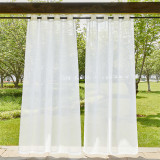 Custom Linen  Outdoor Sheer Curtain with Rope for Patio by NICETOWN ( 1 Panel )