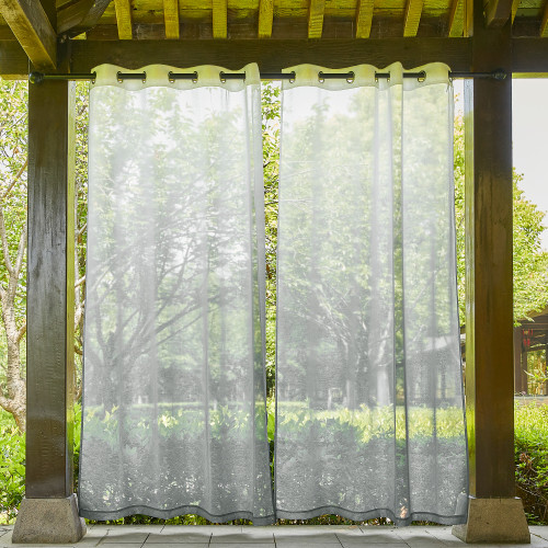Custom Gradient printing Waterproof Linen Outdoor Sheer Curtain by NICETOWN ( 1 Panel )