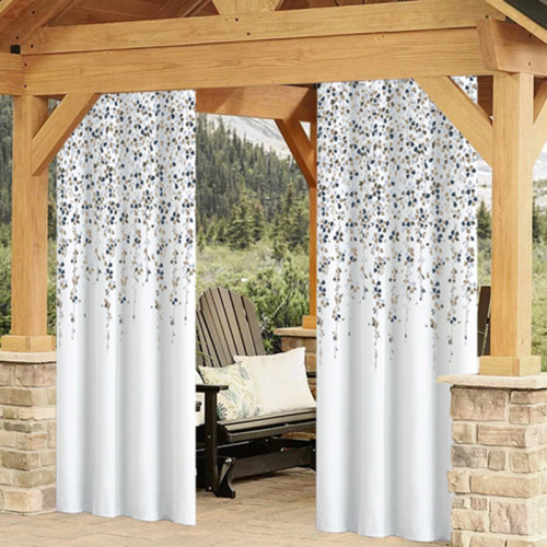 Flower pattern printed Waterproof&Rustproof Thermal Insulated Outdoor Curtain for Patio/Porch/Cabana by NICETOWN ( 1 Panel )