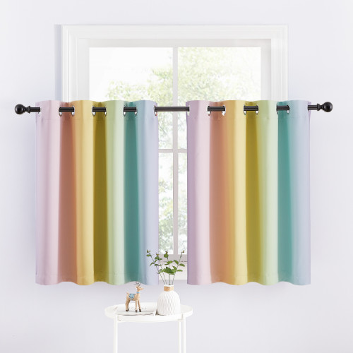 Custom Rainbow Curtain Decoration Blackout Short Curtain for Bedroom by NICETOWN ( 1 Panel )