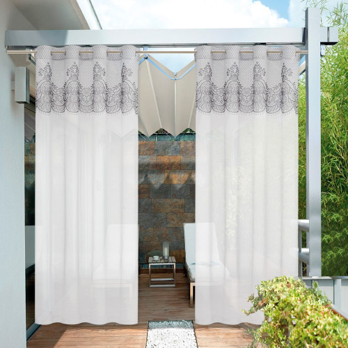 Outdoor Lace Pattern printed Waterproof Outdoor Curtain for Patio/Porch/Cabana by NICETOWN ( 1 Panel )