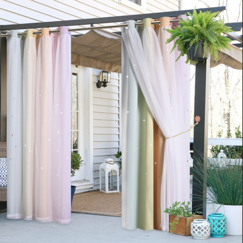 Gradient Multicolor Stripe Double Layers Blackout Outdoor Curtain by NICETOWN ( 1 Panel )