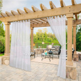 Custom Outdoor Sheer Curtain with Self-Sticky Detachable Tab Top for Easy Hanging-Patio-Pergola by NICETOWN ( 1 Panel )