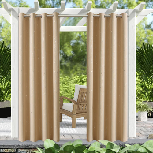 Microfiber Noise Reducing Thermal Insulated Wave Line Blackout Outdoor Curtain by NICETOWN ( 1 Panel )